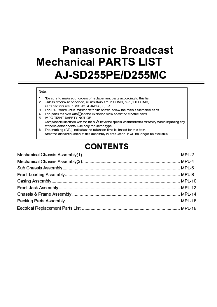 panasonic sd 2500 service manual